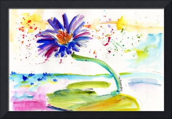 Blue Lotus Flower Watercolor by Ginette