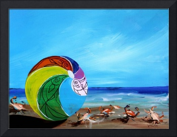 Beach Scene with Beach Ball and Crabs