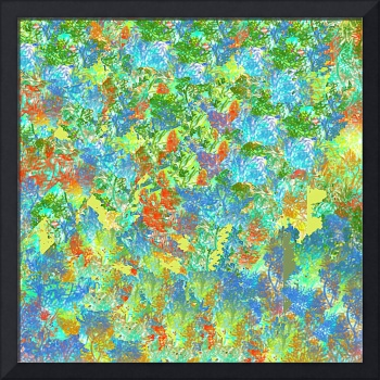 Abstract Garden in Blue, Yellow and Red