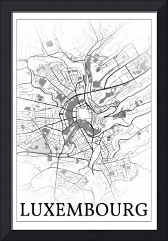 Luxembourg, Luxembourg, city map print.