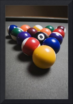 Pool Balls On A Billiard Table With The Eight Ball