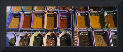 High angle view of assorted spices at a spice sta