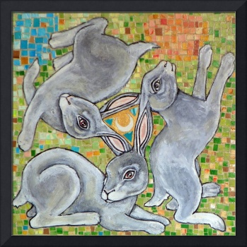 Three Hares Chase the Moon