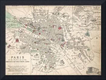Map of Paris at the Outbreak of the French Revolut