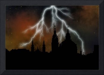 towers of Prague at stormy night