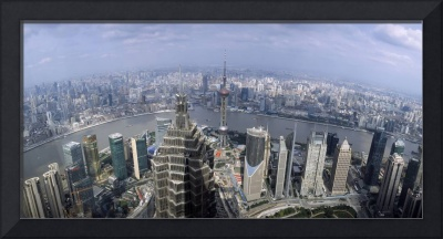 Cityscape with river viewed from Jin Mao Tower Hu