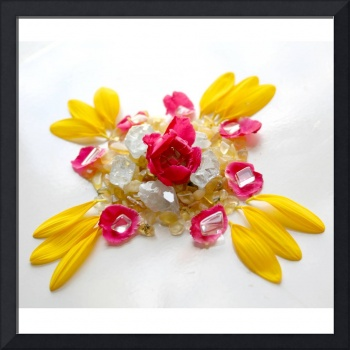 Mandala Sunflower Rose Calcite Clear Quartz Celest