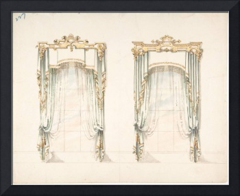 Design for Two White Curtains with Gold Fringes an