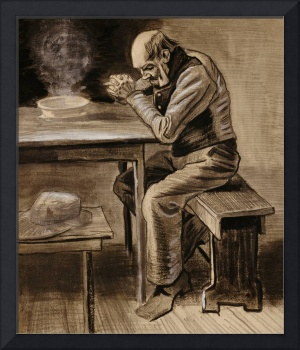 The Prayer, 1882 (pencil, charcoal & ink heightene