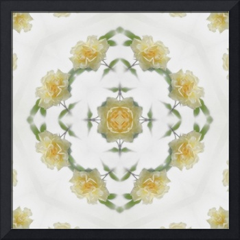 Creamy Yellow Rose Kaleidoscope Art 1