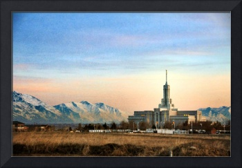 Mount timpanogos temple glows in eve texture