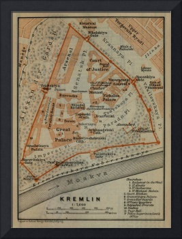 Vintage Map of The Kremlin in Moscow (1914)