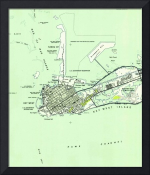 Vintage Map of Key West Florida (1943)