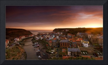 Wide Angle Cityscape At Sunset, Staithes, Yorkshir