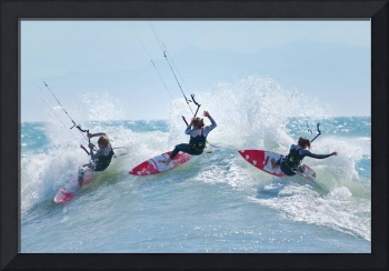Three kitesurfers in water, Tarifa, Cadiz Province