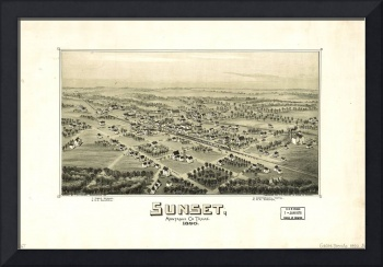 Aerial View of Sunset, Texas (1890)