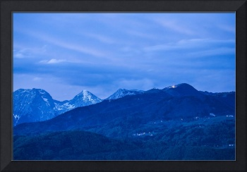 Krvavec and the Kamnik Alps at dusk