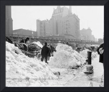 Cleaning the streets in a New York blizzard 1900