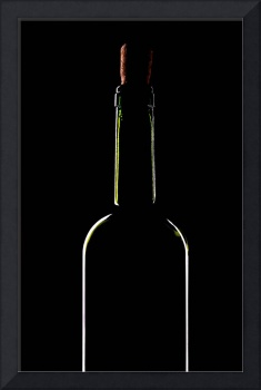 light silhouette of wine bottle