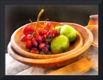 Bowl of Red Grapes and Pears