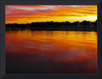 Fiery Red Beach Sunset Night Scenic