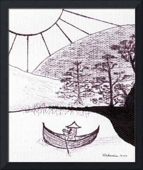 Zen Sumi Asian Lake Fisherman Black Ink