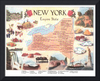 Vintage Map of New York State (1912)