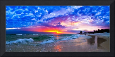 Amazing Beach Sunset Panorama-Waves Blue Clouds
