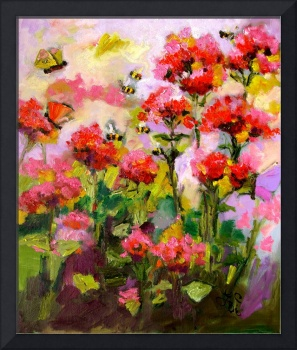 Flowers & Bees Original Oil Painting by Ginette Ca