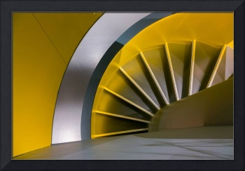 spiral stair in yellow