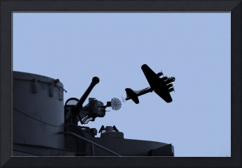 B17 over LST 325 with a Blue Sky