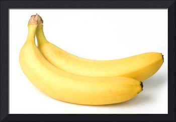 Two bananas on white background