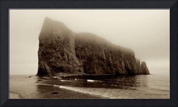 Percé Rock in the mist