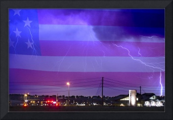 Fire Station 67 Lightning Storm and USA Flag