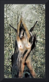 Nude in tree trunk