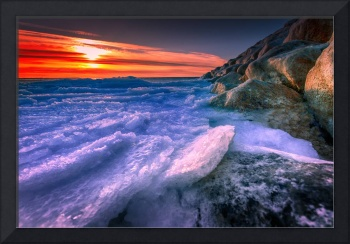 Winter Icy Sunset From Cooks Brook Beach
