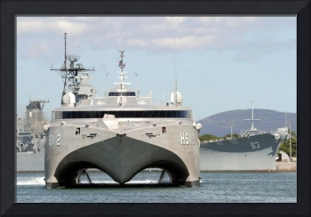 Bow on view of the US Navy experimental High Speed