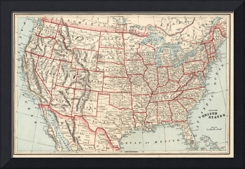 Vintage Map of The United States (1893)