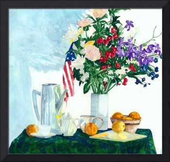 Still Life With Flowers & Flag -Simple Pleasures