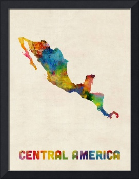 Central America and Mexico Watercolor Map