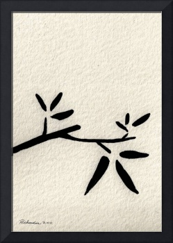Zen Sumi Antique Branch 2a Black Ink on Watercolor