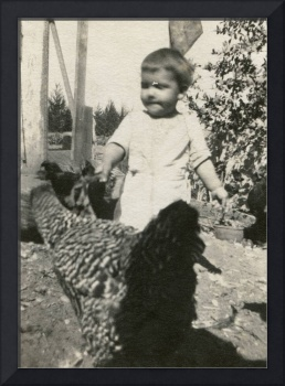 Vintage Photo  1920s - 1940s Boy and the chicken -