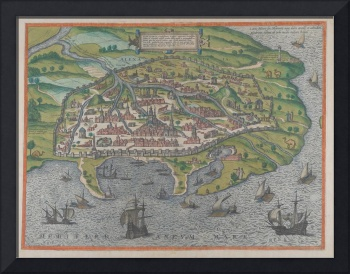 Vintage Pictorial Map of Alexandria Egypt (1575)