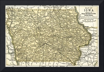 Iowa Antique Map 1891