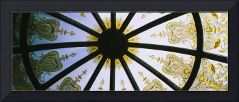Low angle view of the ceiling of a gazebo in a ca