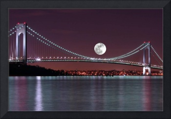 Moon over the Verrazano Narrows Bridge