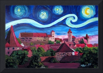 Starry Night in Nuremberg Germany with Castle and