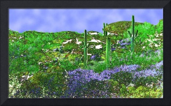 Four Saguaros & Wildflowers Reimagined