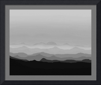 Abstract Decorative B&W Misty Blue Mtn Sunrise w/