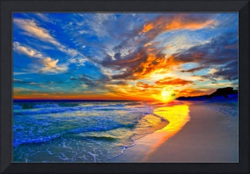 amazing red blue sunset beach canvas prints